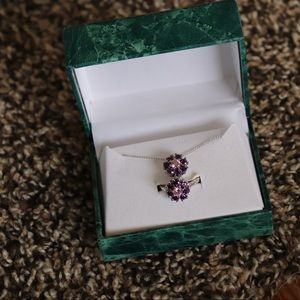 Suzanne Somers purple flower ring and necklace
